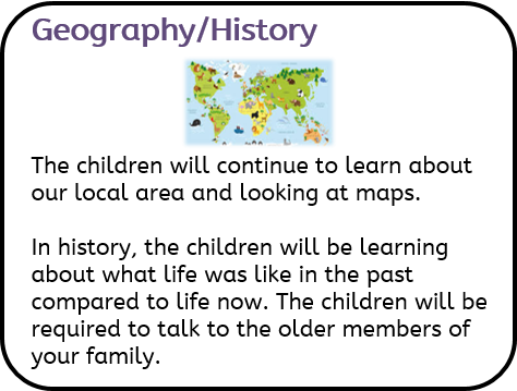 Geography/History: The children will continue to learn about our local area and looking at maps. In history, the children will be learning about what life was like in the past compared to life now. The children will be required to talk to the older members of your family.