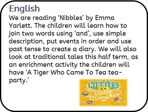 English: We are reading 'Nibbles' by Emma Yarlett. The children will learn how to join two words using 'and', use simple description, put events in order and use past tense to create a diary. We will also look at traditional tales this half term, as an enrichment activity the children will have 'A Tiger Who Came To Tea tea-party.'