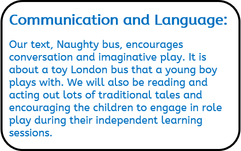Communication and Language: Our text, Naughty bus, encourages conversation and imaginative play. It is about a toy London bus that a young boy plays with. We will also be reading and acting out lots of traditional tales and encouraging the children to engage in role play during their independent learning sessions