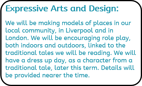 Expressive Arts and Design: We will be making models of places in our local community, in Liverpool and in London. We will be encouraging role play, both indoors and outdoors, linked to the traditional tales we will be reading. We will have a dress up day, as a character from a traditional tale, later this term. Details will be provided nearer the time.